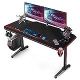 VANSPACE Scrivania Da Gioco 55  Gaming Desk, 140x65x75 cm Scrivania PC Gaming con Tappetino Per Mouse, Gestione dei Cavi, Portabicchieri e Gancio per Cuffie, USB Maniglia di gioco