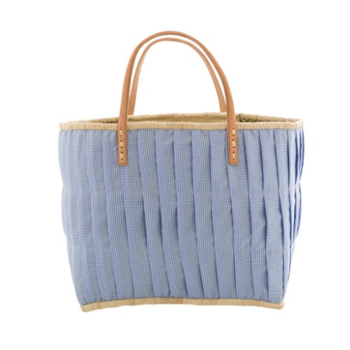 Rice Large Check Fabric Covered Bag with Leather Handles - Blue