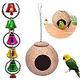 LjzlSxMF De cáscara de Coco Loro Pájaros de la jerarquización Bird Nest Casa Colgantes de jaulas para pájaros para Masticar periquitos Juguete Jaula cacatúas Persa