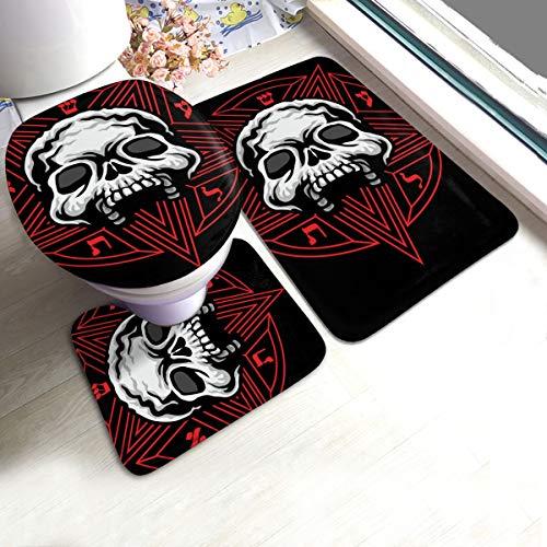Gothic Skull Pentagram Vintage Design U-Shaped Toilet 3 Stuks Badmat Set Badkamer tapijten Tapijt Matten Antislip Voor Indoor Contour Tapijt Aangepast