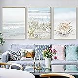 Cuadro en Lienzo Caracola de paisaje marino de playa de arena Cuadros Impresión de Imagen Cuadros Decorativos para Decoración de Salón y Dormitorio Sin marco 3 piezas 50x70 cm