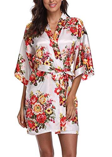 WANNISHA Women's Floral Satin Kimono Robe Short Silk Bathrobe Bride...