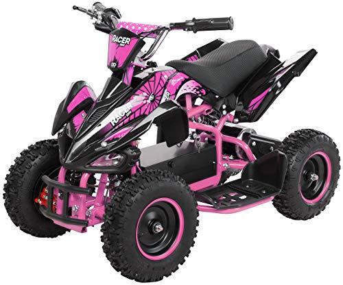 Actionbikes Motors Kinder Elektro Miniquad ATV Racer 1000 Watt 36 Volt - Scheibenbremsen - Safety Touch System Fußschalter (1000 Watt Schwarz/Pink)