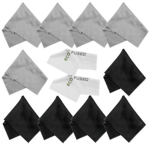 Eco-Fused Mikrofasertücher - 12er Pack - Zum Reinigen von Brillen, Sonnenbrillen, Kameraobjektiven, iPad, Tablets, Handys, iPhone, Android-Telefonen, Laptops, LCD-Bildschirmen und Anderen