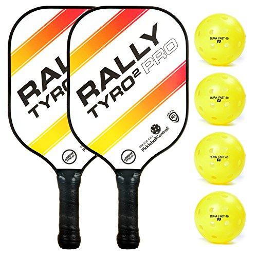 Rally Tyro 2 Pro Pickleball Paddle (2 Paddle / 4 Ball Bundle - White)