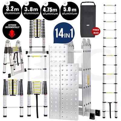 Ballino multifunctionele vouwladder, enkel/dubbele telescopische ladder, verlengbaar, antislip, alle maten, conform DIN-EN-131-gecertificeerd, met tas, stabilisator en vingerbeveiliging 3.2m single telescopic