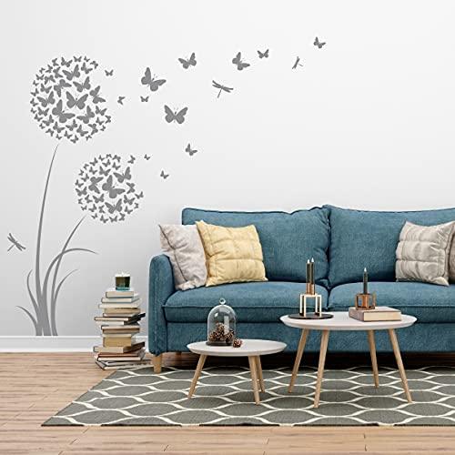tjapalo®4v großes Wandtattoo Pusteblume mit Schmetterlingen Wandtattoo Wohnzimmer blumen Wandtattoo mädchenzimmer teenager, Farbe: mittelgrau, Größe: H170xB58cm