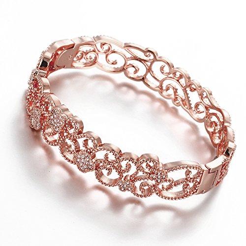 hanie Bracciale da Donna Oro Rosa Diamanti Fiori Bracciale Bianco Rotondo Zircone Bling Bracciali di alta qualità regalo di compleanno