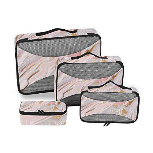 QMIN - Juego de 4 Cubos de Embalaje de Viaje con Textura de mármol líquido, Bolsa organizadora de Malla para Equipaje de Mano, Bolsa de Almacenamiento para Maletas de Viaje
