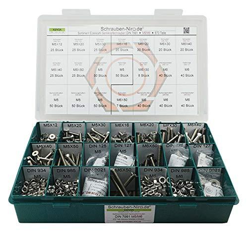 Sortiment M5 + M6 DIN 7991 (ISO 10642) Edelstahl A2 (V2A) Senkschrauben (Innensechskant) - Set bestehend aus Schrauben, Unterlegscheiben (DIN 125, 127, 9021) und Muttern (DIN 934, 985) - 670 Teile