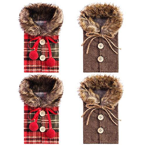 Baalaa 4 piezas de botellas de vino de Navidad cubiertas de botella de vino a cuadros ropa de lino botella de vino vestido diseño botella de vino bolsas para decoración de fiesta de Navidad