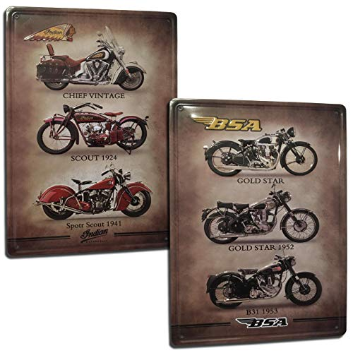 Chapas Vintage de Motos. Indian y BSA. Set de 2 Carteles/Placas metálicas Decorativas Retro de Motos para Pared de Salón, Bar, Taller, Garaje. Tamaño 20x30.