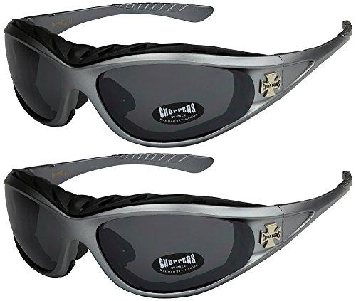 X-CRUZE 2er Pack Choppers 911 Sonnenbrillen Motorradbrille Sportbrille Radbrille - 1x Modell 07 (anthrazit/schwarz getönt) und 1x Modell 07 (anthrazit/schwarz getönt) - Modell 07 + 07 -