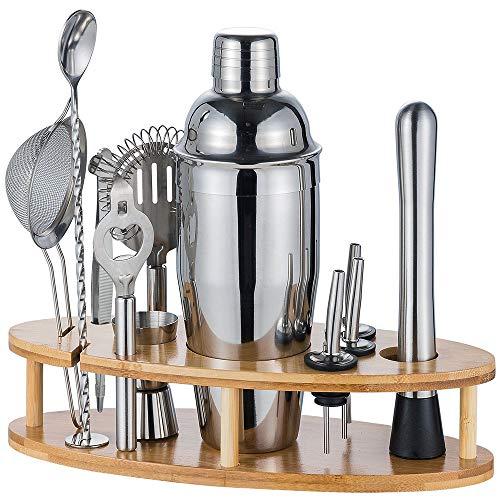 HALOVIE Cocktail-Shaker-Set, 750 ml, Barkeeper-Set, mit Holzständer, Bar-Zubehör, Getränkemixer, Cocktail-Maker, Bar-Werkzeug, Geschenk-Set (12 Stück)