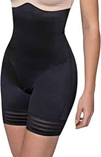 LaSculpte Shapewear for Women Tummy Control Full Body Shaper High Waisted Shorts Mid Thigh Stripe Slimmer Panties, Black/N...