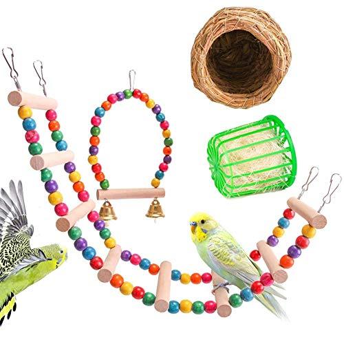 ZJDK Juguete de Jaula para pájaros, Loro, Madera Natural, Colgante, Percha de Entrenamiento, Campana, Columpio, Escalera de Escalada, Nido de Tejido para pájaros pequeños de Chinchilla, 4 Piezas