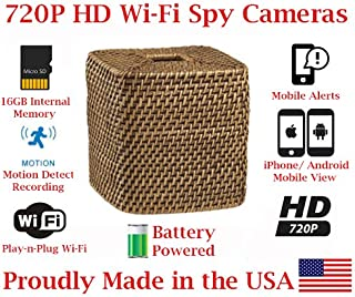 SecureGuard 720p HD Wi-Fi Battery Powered Wireless IP Wicker Tissue Box Hidden Security Nanny Cam Spy Camera with 16GB Memory (18 Hour)