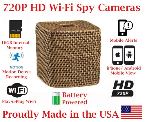 Best Prices! SecureGuard 720p HD Wi-Fi Battery Powered Wireless IP Wicker Tissue Box Hidden Security...