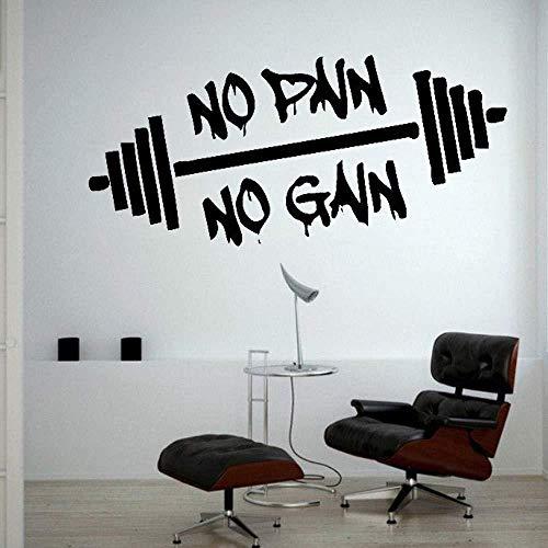 Frase inspiradora de fitness No Pain No Gain etiqueta de la pared home art tatuajes de pared sala de estar dormitorio decoración de la pared vinilo extraíble 24 * 53 cm