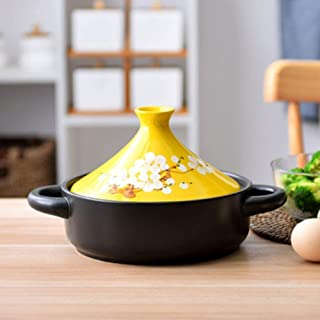 Cooking clay pot Moroccan Ceramic Casserole Stew Pot Non-Stick Pot Household Pan Heat-Resistant with Cast Iron Base and St...