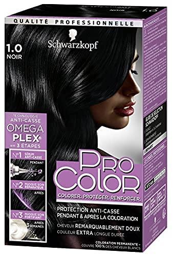 Schwarzkopf - Pro Color - Coloration Permanente Cheveux - Anti-Casse - Technologie Oméga Plex - Tenue Extra Longue Durée - Noir 1.0
