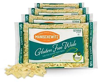 Manischewitz Gluten Free Wide Egg Noodles  4 Pack  Yolk Free Kosher For Passover and All Year Round Use