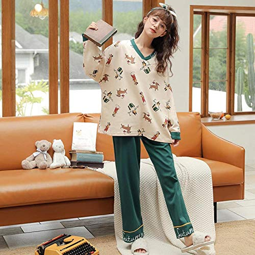 B/H Pijamas navideños Conjunto Familiar,Pijamas de Invierno de algodón para Mujer, 2324_XL,Pijamas de Franela Suave Cálida Ropa