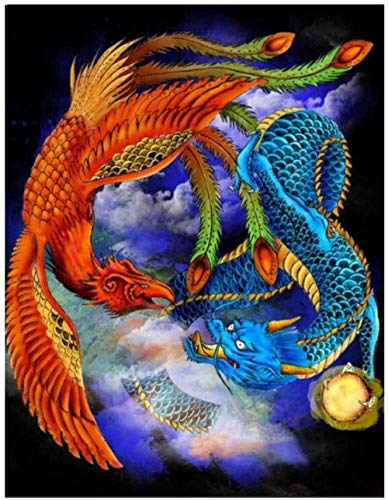MTAOXZ Cross Stitch Kits Dragon and Phoenix DIY Art Embroidery Starter Kits for Beginners 14CT 3 Strands Cross-Stitch Sets for Home Decor 16 × 20 inches(Send a Gift Set)