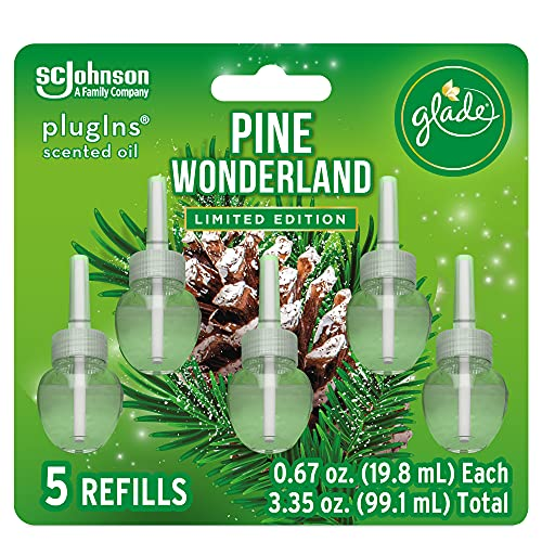 Glade PlugIns Refills Air Freshener, Scented and Essential Oils for Home and Bathroom, Pine Wonderland, 3.35 Fl Oz, 5 Count (322303)