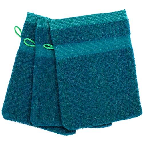 Selldorado® 3 manoplas de baño en color verde oscuro – como manopla de baño y toalla de mano versátil en aplicación – Manopla de rizo (07 verde oscuro)