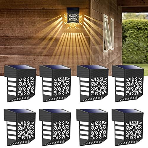 Luz Solar Exterior Jardin, 8 Luces Luz Terraza Exterior Decorativa IP54 a prueba de agua, Usado para Terraza, Valla, Escalón, Escalera, Patio o camino de entrada, blanco cálido