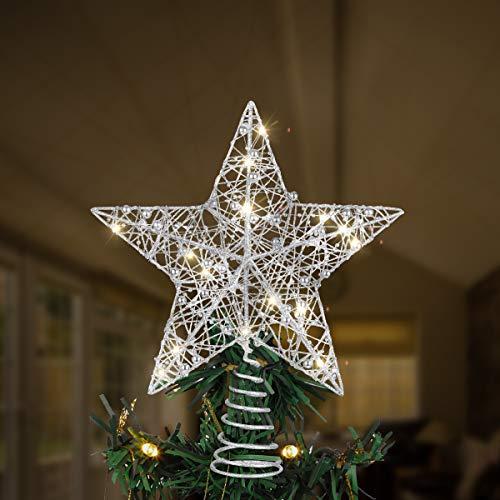 Toyvian Weihnachtsbaum Topper Stern, Weihnachtsdekorationen Beleuchtet Draht Weihnachtsbaum Stern für Weihnachtsbaum Ornament (12 Zoll, Silber)