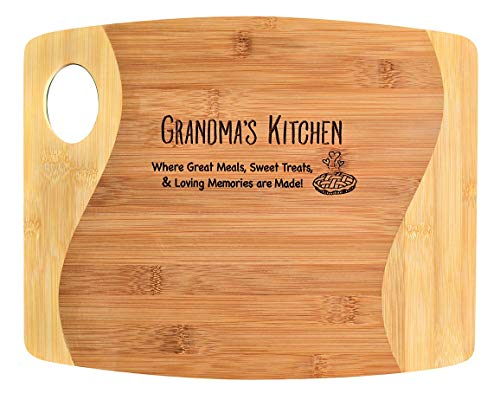 GRANDMA GIFT- Lightweight Engraved 2-Tone Bamboo Cutting Board with Handle - 2-Sided Design Engraved Side Designed For Decor Reverse Side For Usage - Birthday Mothers Day Christmas 11 x 13 34