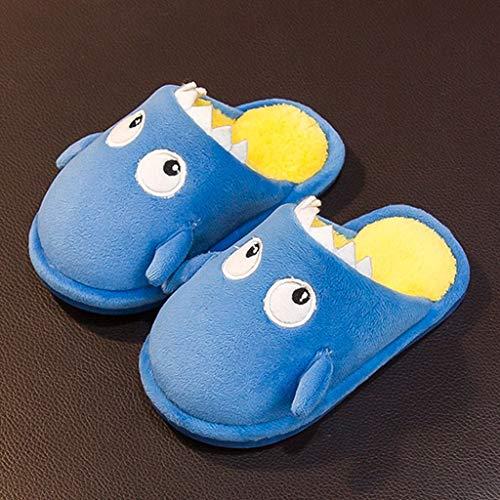 WZHZJ Niños Invierno Encantador Interior Zapatillas for niños Niñas Cálidas Soft Soft Slip Slip Blippers (Color : Blue, Size : Inner Length 15cm)