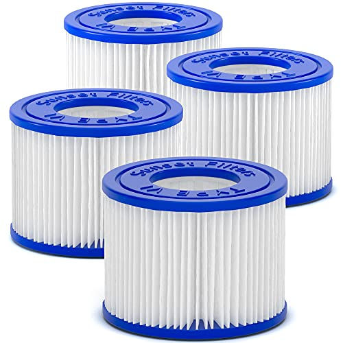 SUNSET FILTERS Type VI Spa Filter Replacement Cartridge - for SaluSpa, Lay-Z-Spa (4-Pack)