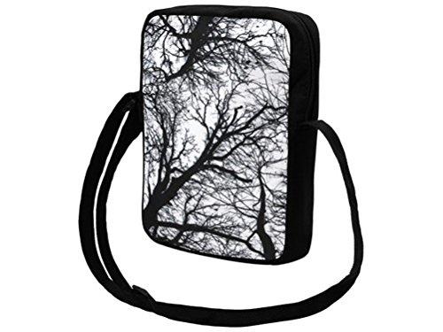 Black Out Gothic Handtasche Bäume schwarz Messenger Bag Umhängetasche