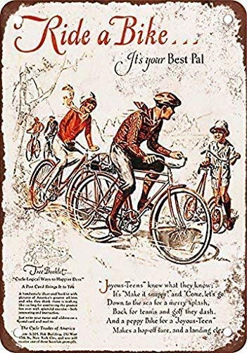 Home Pub Bar Deco Wall Decor Poster 16x12,Ride a Bike, It's Your Best Pal,Store Sign Aluminum Sign for Garage Easy to Mount Indoor & Outdoor Use Metal Sign Home House Coffee Beer Drink Bar Decor