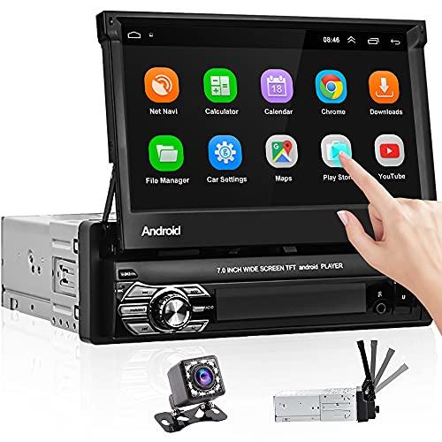 Hikity Android Autoradio 1 Din Con Schermo Bluetooth Auto Stereo Navigazione GPS 7 Pollici Touch Screen Radio FM WiFi Casting Dello Schermo + Telecamera Di Backup