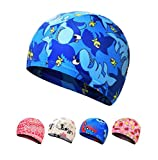 Ewanda store Kids Swim Caps Swimming Cap Swimming Hat Bath Caps for 2-8 Years Olds Kids Boys Girls with Long Hair(Blue Shark)