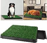Oppikle Hundetoilette Welpentoilette mit Kunstrasen, Trainingsunterlage Indoor für Hunde Tier WC, 63x 50x 7cm(L x B x H)