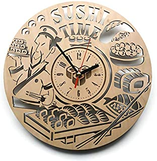 ShareArt Sushi Restaurant Analog Wood Wall Clock - Non Ticking Quartz Wall Clocks Battery Operated - Cute Rustic Bedroom Kitchen Office Wall Decor - Unique Custom and Personalized Gifts - 12 Inch