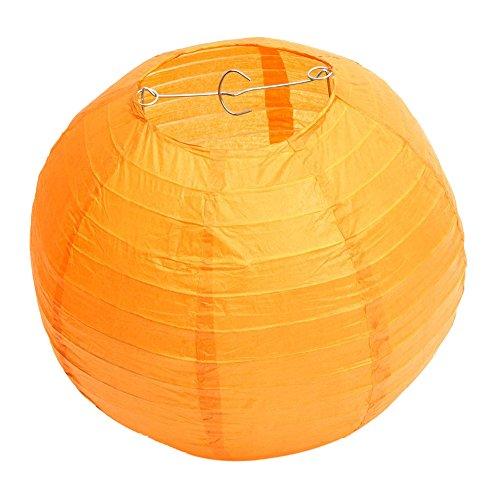 Outflower 10Pcs/ensemble Romantique Chinois Papier Lanterne Intérieur Forme Ronde Suspendue Décorative Lampion Extérieure Jardin Lumière Fête D'anniversaire Mariage Accessoires (Orange, Diamètre 30CM)
