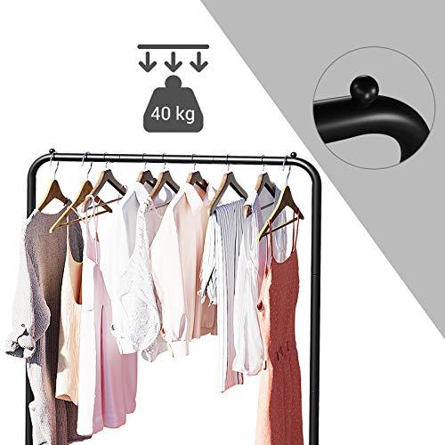 SONGMICS Kleiderständer auf Rollen, Garderobenständer, Kleiderstange bis 40 kg belastbar, aus Metall, mit Gitterablage, schwarz HSR25BK