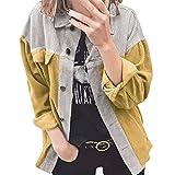 Tekaopuer Chaqueta de manga larga de pana para mujer, camisa de empalme suelta, suelta, casual, para mujer, Amarillo grisáceo, L