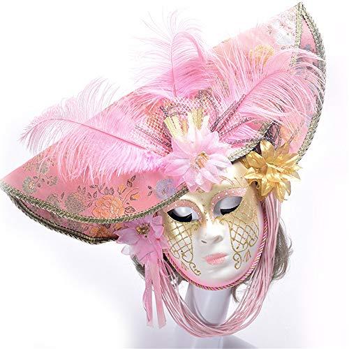 YBBGHH Maskerade Maske Rosa Feder Mit Blumenmalerei Maske Halloween Party Handgemachte Bemalte Maske Festival Cosplay Kostüm Party PP Stoff Requisiten