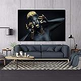 KWzEQ Donna Africana Dipinto ad Olio Nero Indiano e Oro Poster e affreschi su Tela,Pittura Senza Cornice,75x112cm