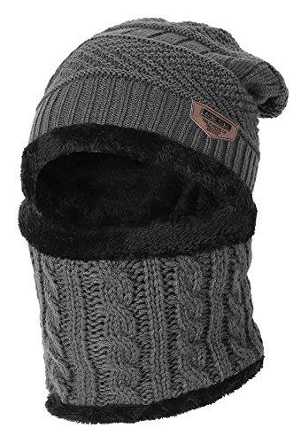 Kinder Winter warme Mütze mit Schal Strickmütze weich gefüttert.YR.Lover Grau Einheitsgrösse