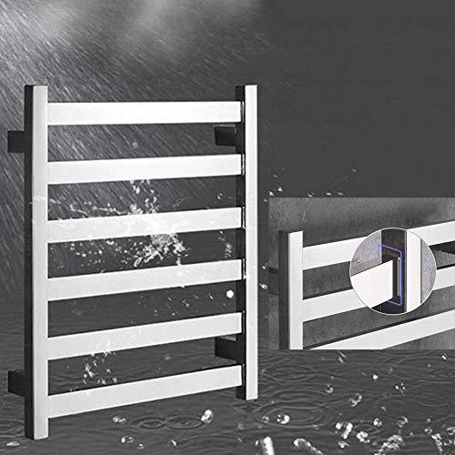 Nuokix 5-Bar montado en la pared Calentador de toallas eficiente de la energía eléctrica del enchufe Calentador de toallas polaco del espejo for cuarto de baño 23.62 * 19.68 pulgadas / 51W Secado Rápi