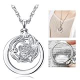 TERAISE Necklace Magnifier 5X Pendant Jewelry Magnifying Glass Increase Vision as Women Gift(Silver)