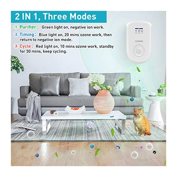 Air purifiers plug in for home, mini odor eliminator丨ozone negative ion dual function丨ionizer to remove smoke pet toilet… 3 🍃2-in-1 pluggable air purifier: cornmi air purifier has a built-in ozone and negative ion generator. Ozone has a strong oxidative decomposition ability, and negative ions can absorb dust. The combination of these two functions can effectively eliminate pet odor, secondhand smoke and kitchen oil fume, allowing you to enjoy natural fresh air at home. 🍃ozone deodorization function: the deodorizer can achieve the purpose of comprehensive and efficient cleaning by short-term releasing low-concentration o₃. O₃ has strong permeability, diffusibility and decomposition ability, which can effectively eliminate harmful substances and smells in the air. 🍃anion purification function: the air ionizer can produce anion, combine with the dust that are positive ions in the air and sink to the ground, avoiding the danger of inhaling floating objects. And achieve the removal of cigarette smoke, oil fumeand other particles matter. Effectivelyrefresh the air and improve the quality of sleep.